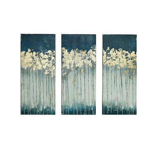 Madison Park Midnight Forest Gel Coat Canvas 3 Pc Wall Art Set