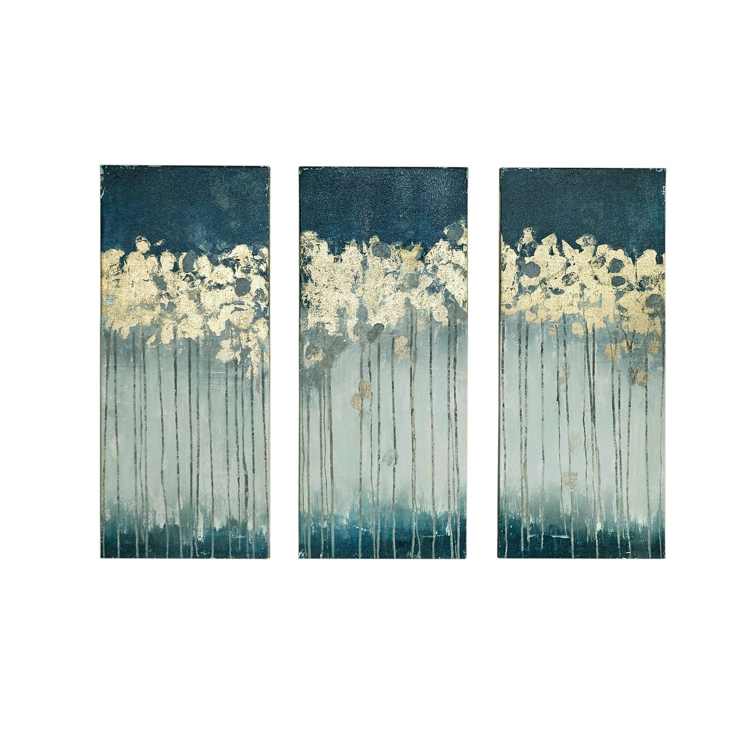 Delightful Madison Park Midnight Forest Gel Coat Canvas 3 Pc. Wall Art Set