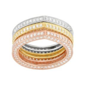 Cubic Zirconia Tri-Tone Sterling Silver Stack Ring Set