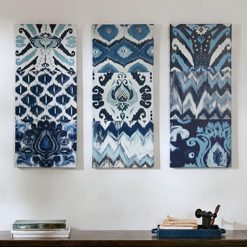 Madison Park Flourish Ikat Gel Coat Canvas 3 Pc Wall Art Set