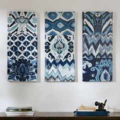 Madison Park Flourish Ikat Gel Coat Canvas 3 pc Wall Art Set