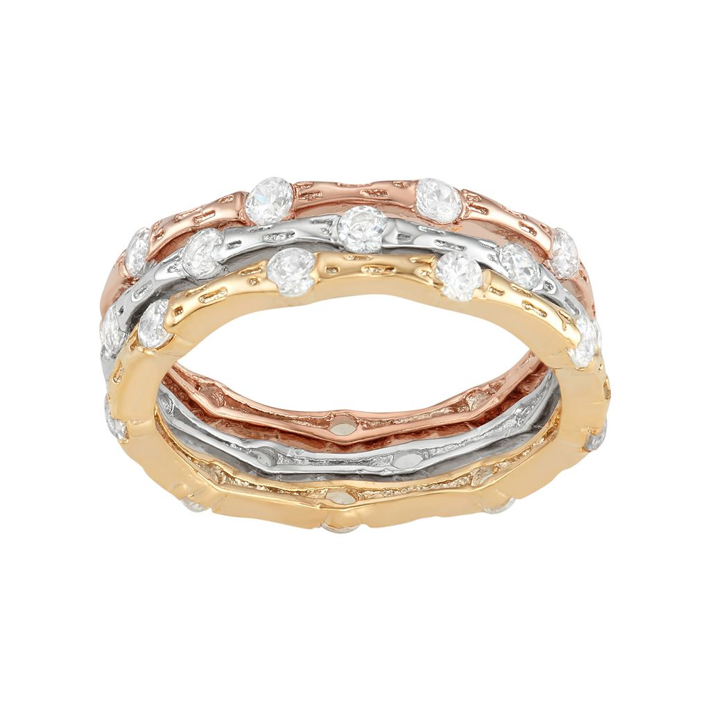 Cubic Zirconia Tri-Tone Sterling Silver Textured Stack Ring Set