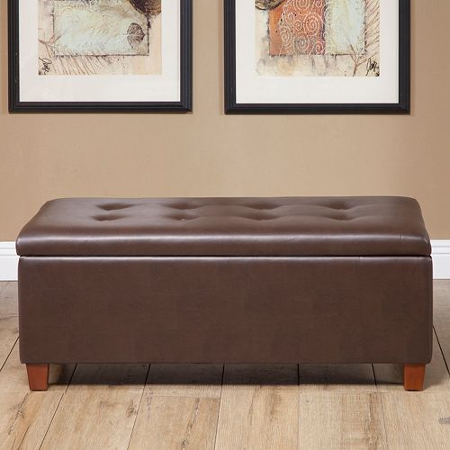 HomePop Faux Leather Tufted Storage Bench