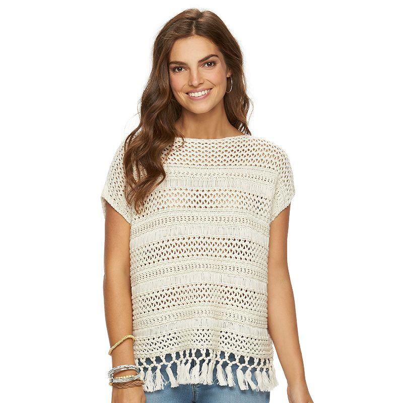 Petite Chaps Crochet Boatneck Poncho Sweater
