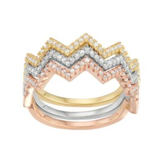Cubic Zirconia Tri-Tone Sterling Silver Zigzag Stack Ring Set