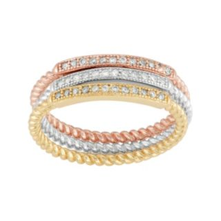 Cubic Zirconia Tri-Tone Sterling Silver Twist Stack Ring Set