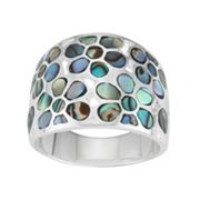 Sterling Silver Abalone Flower Ring