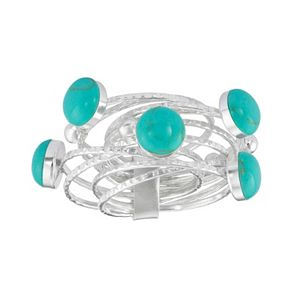 Simulated Turquoise Sterling Silver Ring