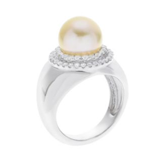 PearLustre by Imperial Sterling Silver South Sea Cultured Pearl & White Zircon Ring