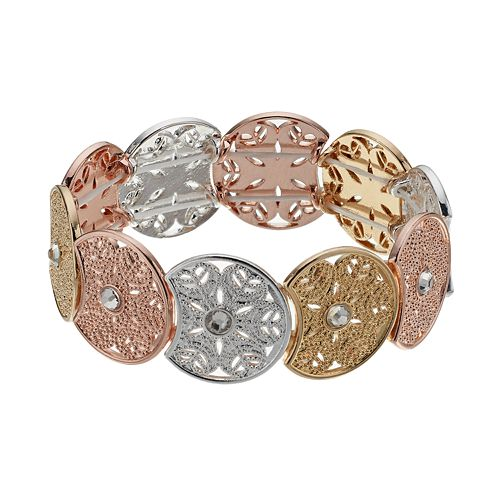 LC Lauren Conrad Tri Tone Medallion Stretch Bracelet