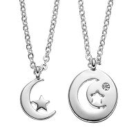 Side by Side Crystal Moon & Star Pendant Necklace Set
