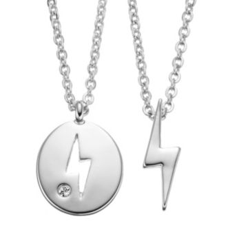 Side by Side Lightning Bolt Pendant Necklace Set