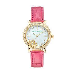Laura Ashley Women's Crystal Leather Watch