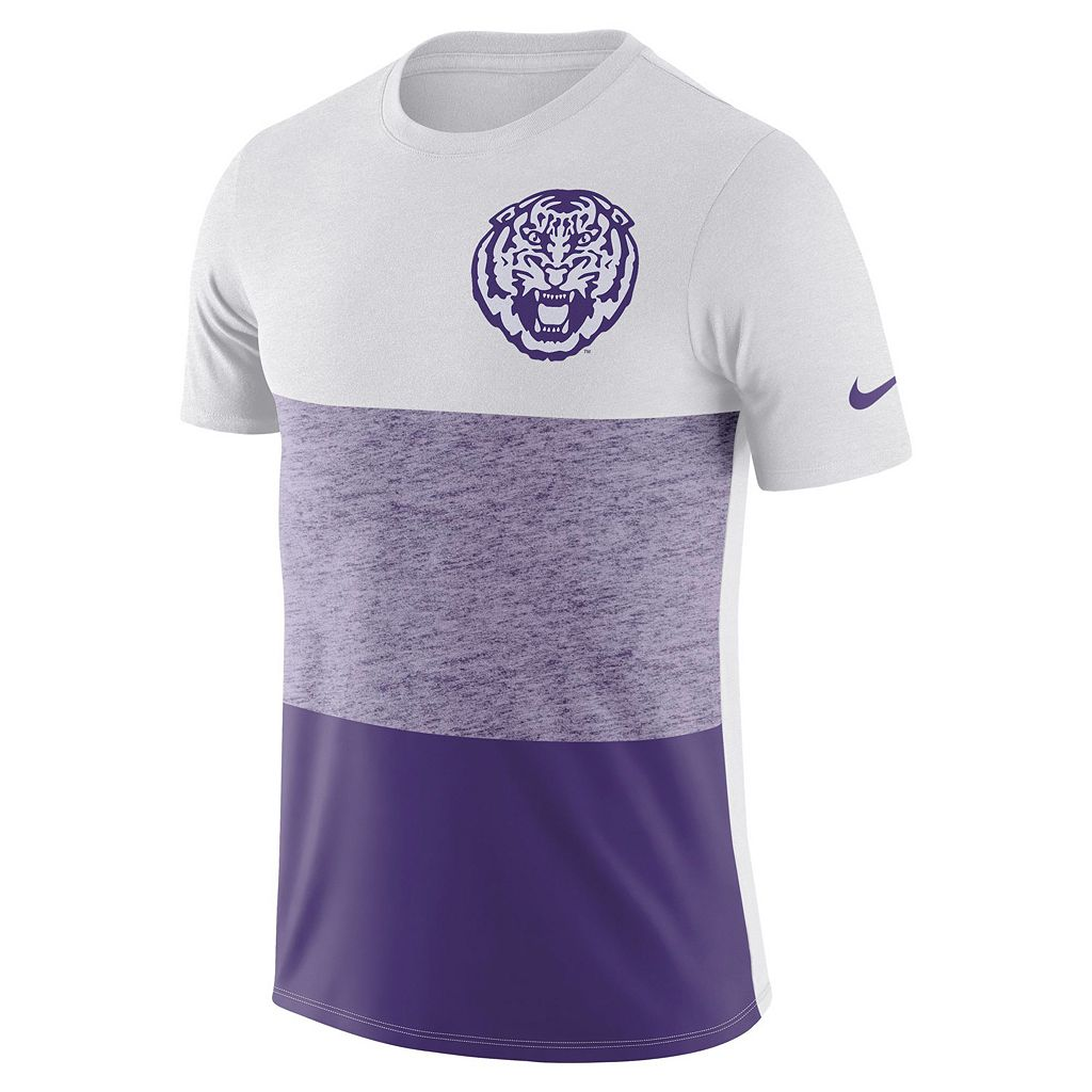 Men's Nike LSU Tigers Triblend Colorblock Tee