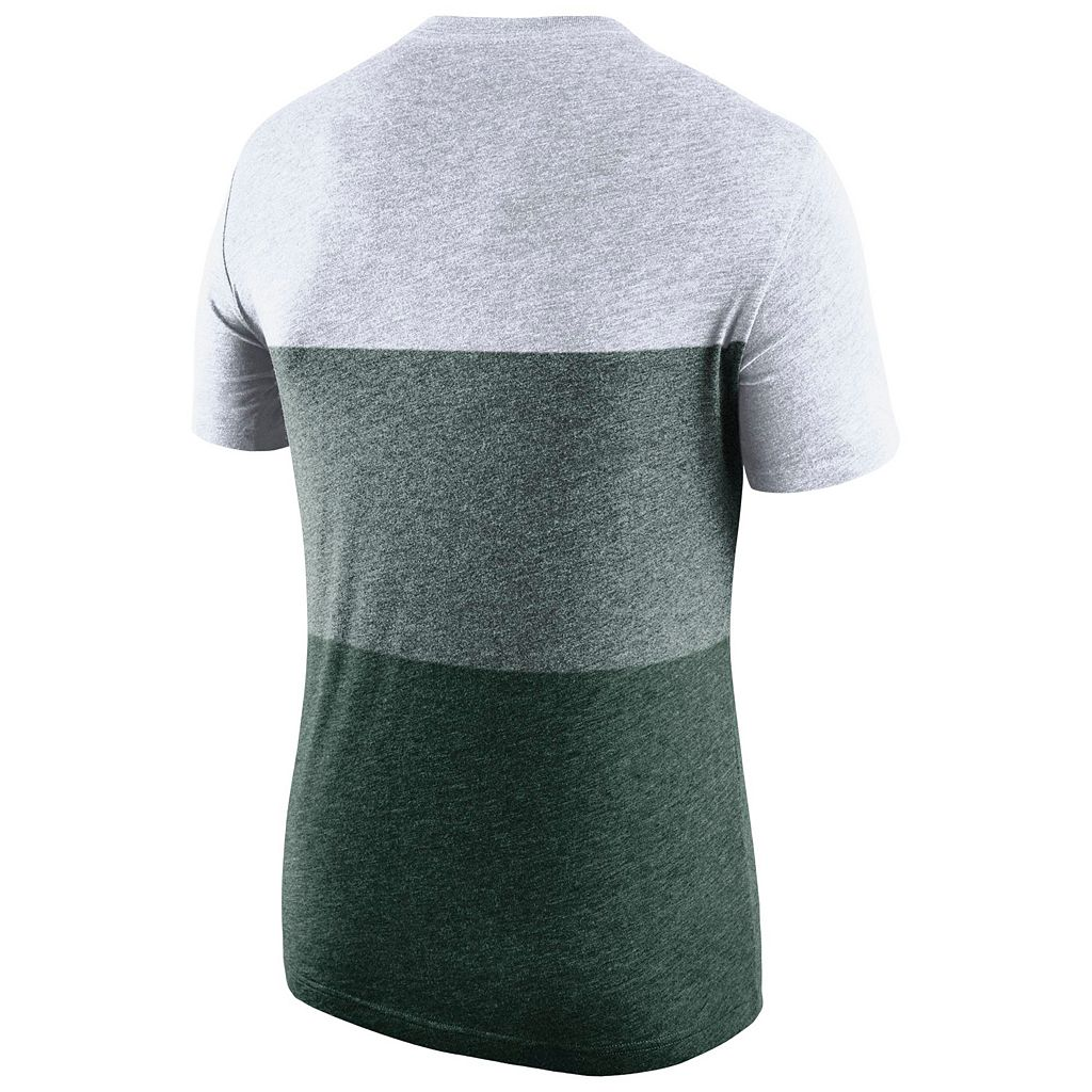 Men's Nike Michigan State Spartans Triblend Colorblock Tee