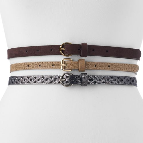 Women's Apt. 9® 3-for-1 Skinny Belt Set