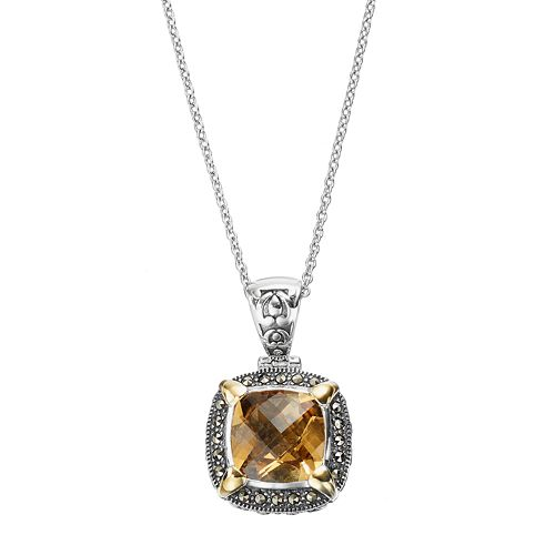 Lavish by TJM Sterling Silver Yellow Quartz & Marcasite Halo Pendant