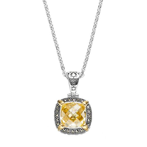 Lavish by TJM Sterling Silver Cubic Zirconia & Marcasite Halo Pendant