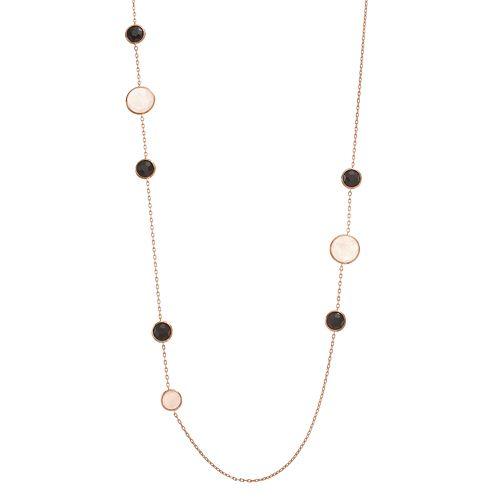 SIRI USA by TJM 18k Rose Gold Over Silver  Rose Quartz & Onyx Long Necklace