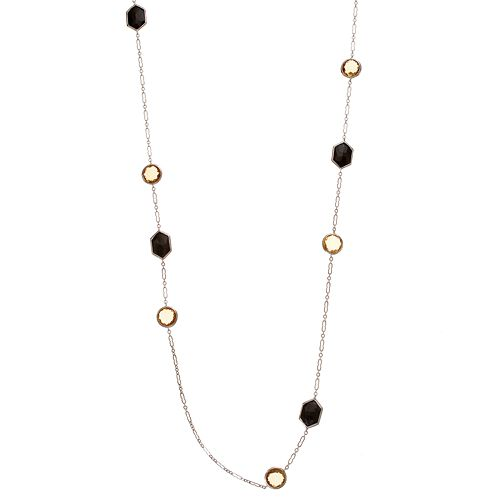 SIRI USA by TJM Sterling Silver Silver Yellow Quartz & Onyx Long Necklace