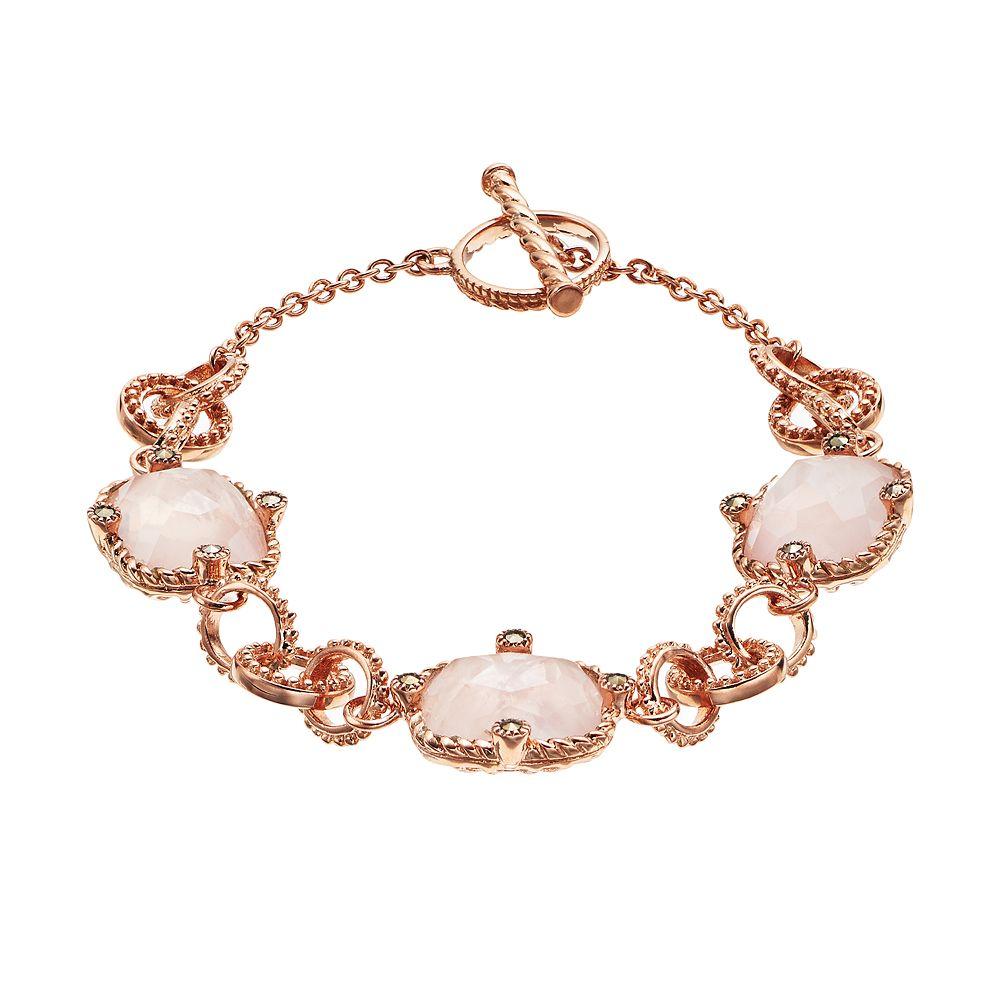 Lavish by TJM18k Rose Gold Over Silver Rose Quartz & Marcasite Bracelet