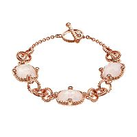 Lavish by TJM 18k Rose Gold Over Silver Rose Quartz & Marcasite Bracelet