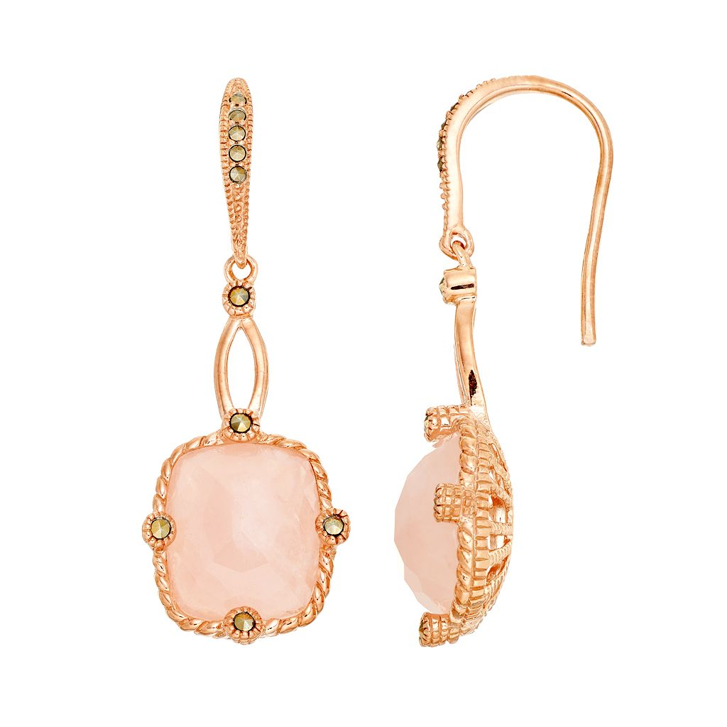 Lavish by TJM 18k Rose Gold Over Silver Rose Quartz Drop Earrings