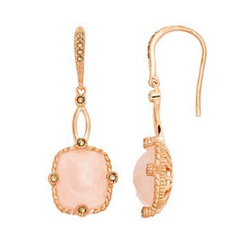 Lavish by TJM 18k Rose Gold Over Silver Rose Quartz Drop Earrings