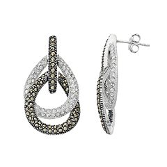 Lavish by TJM Sterling Silver Crystal & Marcasite Teardrop Earrings