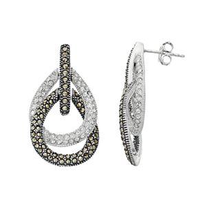 Lavish by TJM Sterling Silver Crystal & Marcasite Teardrop Earrings