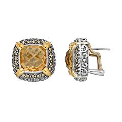 Lavish by TJM Sterling Silver Yellow Quartz & Marcasite Halo Stud Earrings
