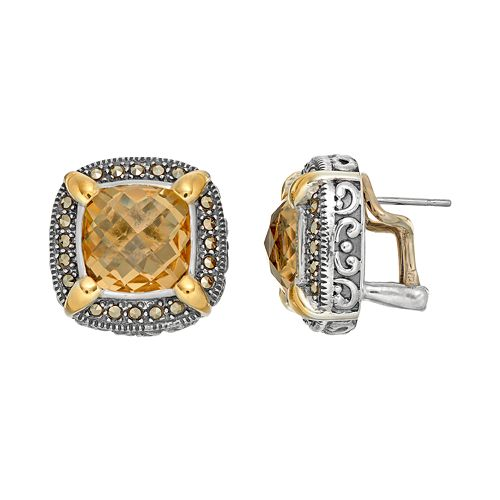 Lavish by TJM Sterling Silver Yellow Quartz & Marcasite Halo Stud Earrings
