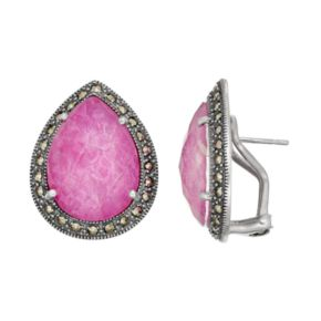 Lavish by TJM Sterling Silver Ruby Doublet & Marcasite Teardrop Earrings