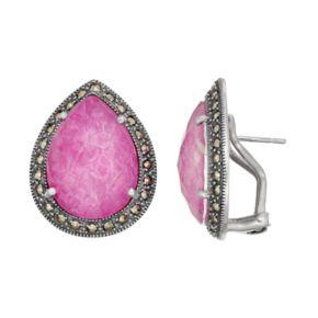 Lavish by TJM Sterling Silver Ruby Doublet & Marcasite Teardrop Earrings