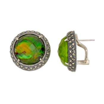 Lavish by TJM Sterling Silver Abalone Doublet & Marcasite Earrings