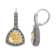 Lavish by TJM Sterling Silver Cubic Zirconia & Marcasite Drop Earrings