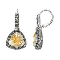 Lavish by TJM Sterling Silver Cubic Zirconia & Marcasite Drop Earrings