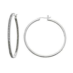 Lavish by TJM Sterling Silver White Topaz & Marcasite Hoop Earrings