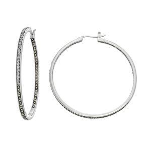 Lavish by TJM Sterling Silver White Topaz & Marcasite Hoop Earrings