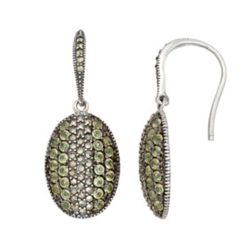 Lavish by TJM Sterling Silver Peridot & Marcasite Oval Drop Earrings
