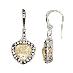 SIRI USA by TJM Sterling Silver Cubic Zirconia Halo Drop Earrings