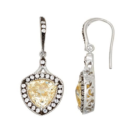 SIRI USA by TJM Sterling Silver Cubic Zirconia Halo Drop Earrings