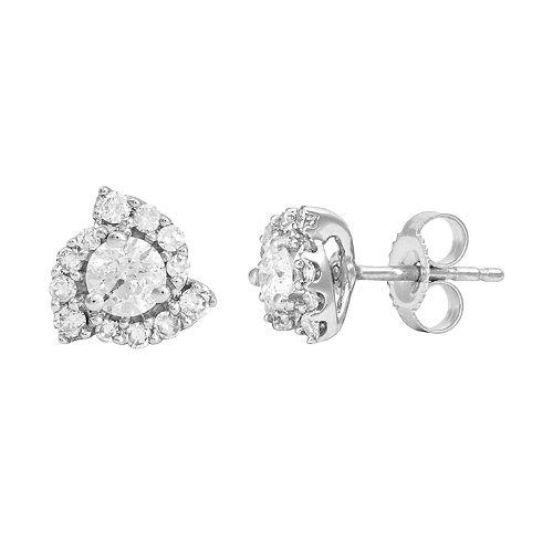 14k White Gold 1/2 Carat T.W. IGI Certified Diamond Swirl Stud Earrings