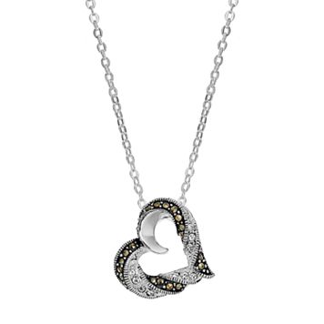 Silver Luxuries Silver-Plated Marcasite & Crystal Heart Pendant Necklace