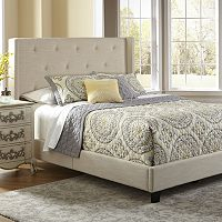 Shelter Button Tufted Queen Platform Bed