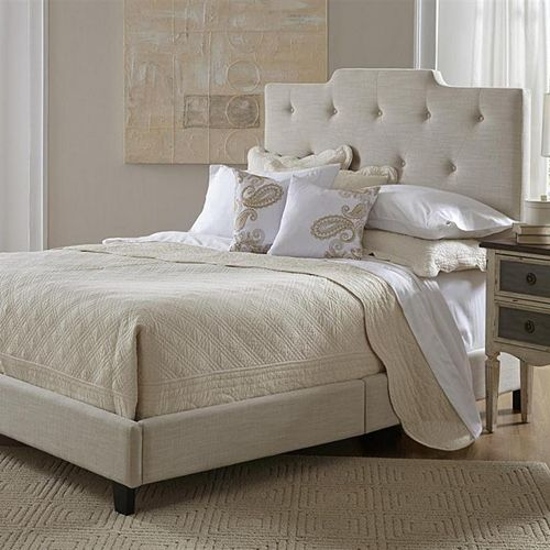 Button Tufted High-Back Queen Platform Bed