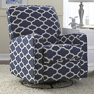 Sutton Quatrefoil Swivel Glider Recliner Chair Null
