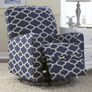 Sutton Quatrefoil Swivel Glider Recliner Chair