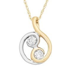Two Tone 10k Gold 1/5 Carat T.W. Diamond 2-Stone Pendant Necklace