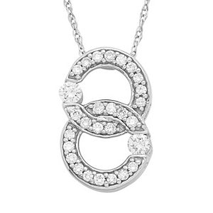 10k White Gold 1/5 Carat T.W. Diamond 2-Stone Pendant Necklace